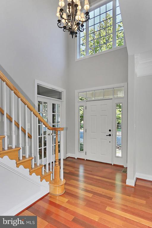 Grand foyer with hardwood floors & vaulted ceiling - 43937 RIVERPOINT DR, LEESBURG