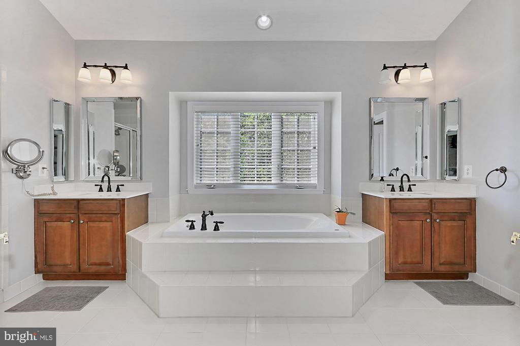 Bright mast bathroom with dual sinks, tub & shower - 43937 RIVERPOINT DR, LEESBURG