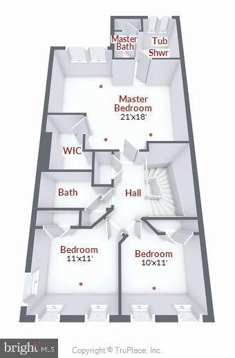 Upper level floor plan - 21935 WINDY OAKS SQ, BROADLANDS
