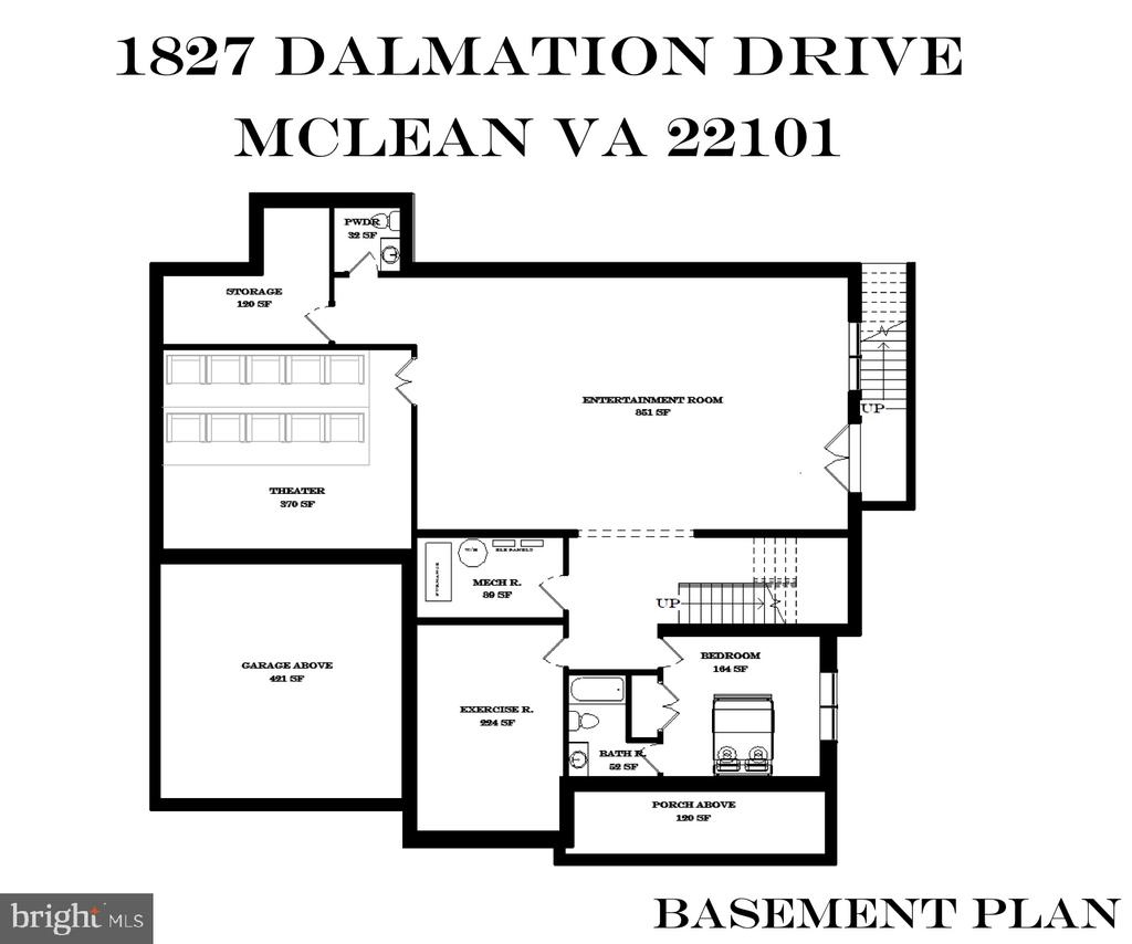 Lower Level Floor Plan - 1827 DALMATION DR, MCLEAN