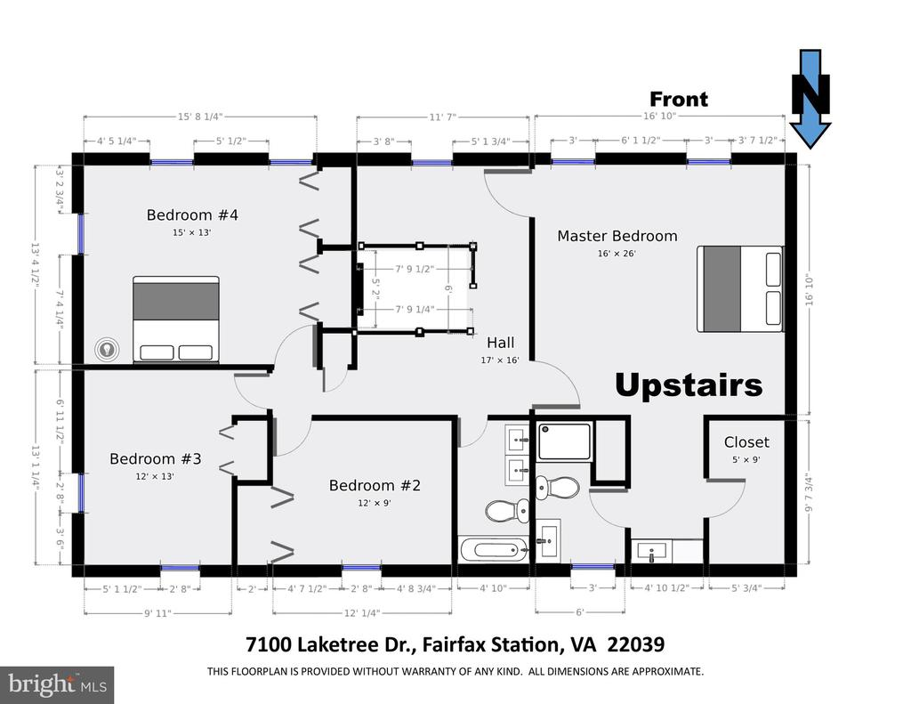 Upstairs Floor Plan (dimensions are approximate) - 7100 LAKETREE DR, FAIRFAX STATION
