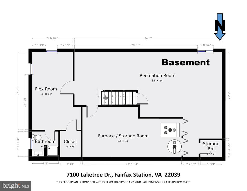 Basement Floor Plan (dimensions are approximate) - 7100 LAKETREE DR, FAIRFAX STATION