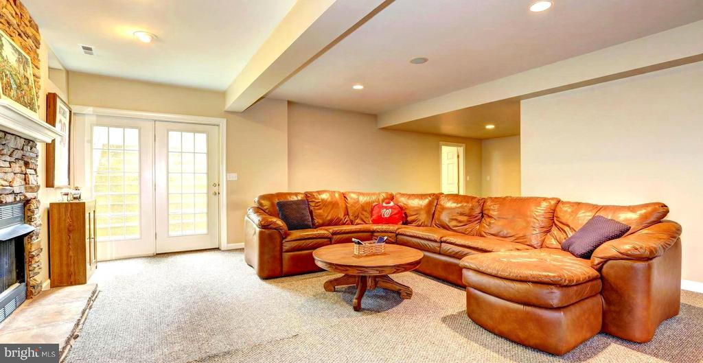 Lower Family Room with Stone hearth, den & storage - 22910 PEACH TREE RD, CLARKSBURG
