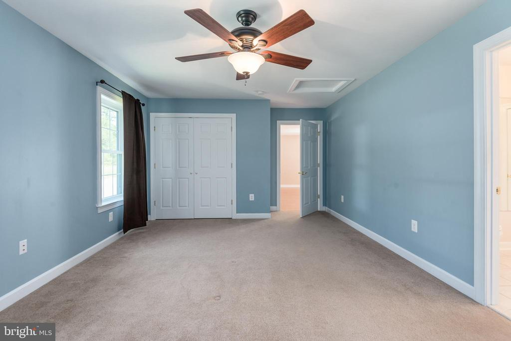 Apartment bedroom w/ ceiling fan and large closet - 2843 GARRISONVILLE RD, STAFFORD