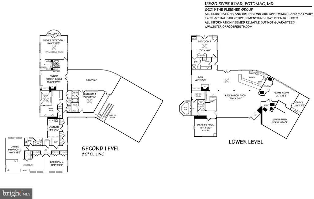 Main House Lower/Upper Level Floorplan - 12820 RIVER RD, POTOMAC