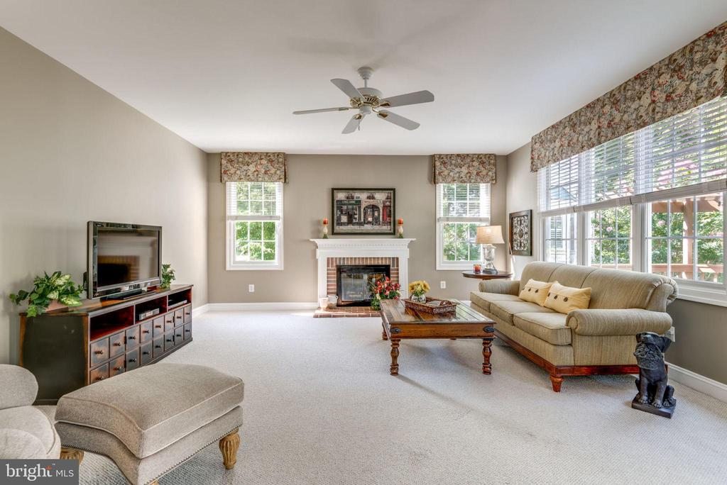 Large Family Room with gas fireplace. - 20439 FITZHUGH CT, POTOMAC FALLS