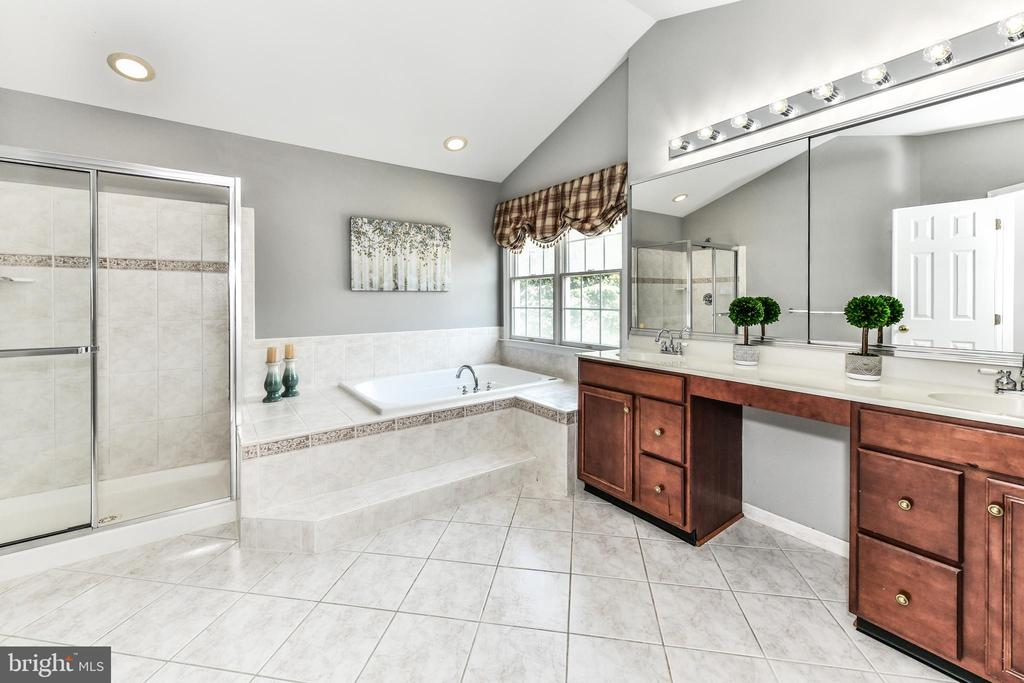 Private master bath w/ soaking tub and sep. shower - 47426 RIVERBANK FOREST PL, STERLING