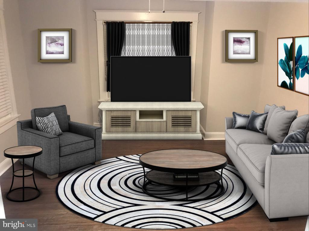 Virtually Stage Living/Family Room - 1307 LONGFELLOW ST NW, WASHINGTON