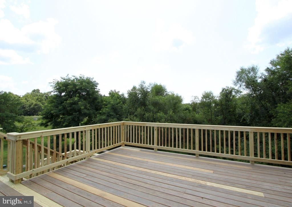 Deck overlooking trees in the backyard - 16901 EVENING STAR DR, ROUND HILL