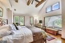 Master bedroom with exposed wood beams! - 9919 MACARTHUR BLVD, BETHESDA