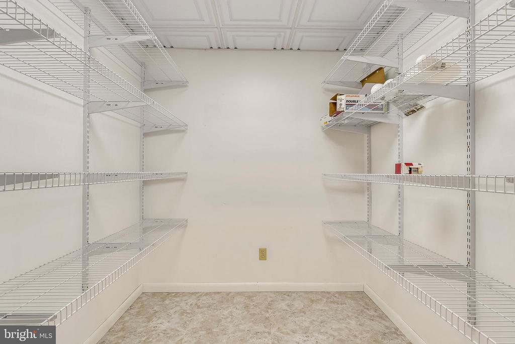 Walk in pantry with lots of shelving in basement - 8907 CHRISTINE PL, MANASSAS