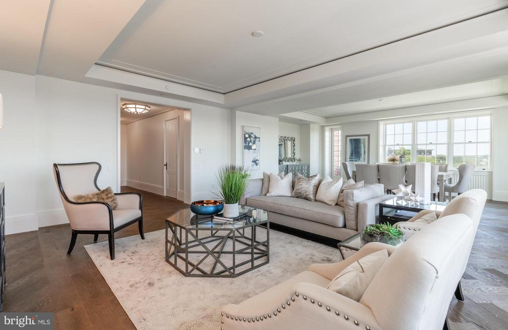 Living and Dining Areas offer multiple exposures - 2660 CONNECTICUT AVE NW #4C, WASHINGTON