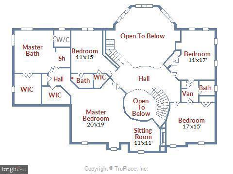 Upper level floor plan - 5800 MIDHILL ST, BETHESDA