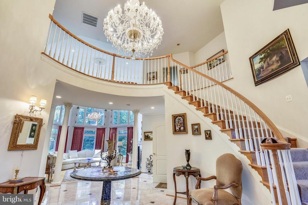 Grand foyer and upper level hallway - 5800 MIDHILL ST, BETHESDA