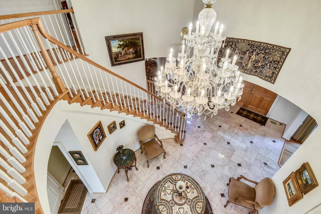 View of grand foyer from upper level - 5800 MIDHILL ST, BETHESDA