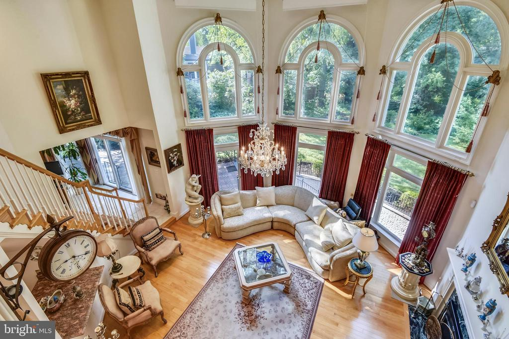 View of great room from upper level - 5800 MIDHILL ST, BETHESDA