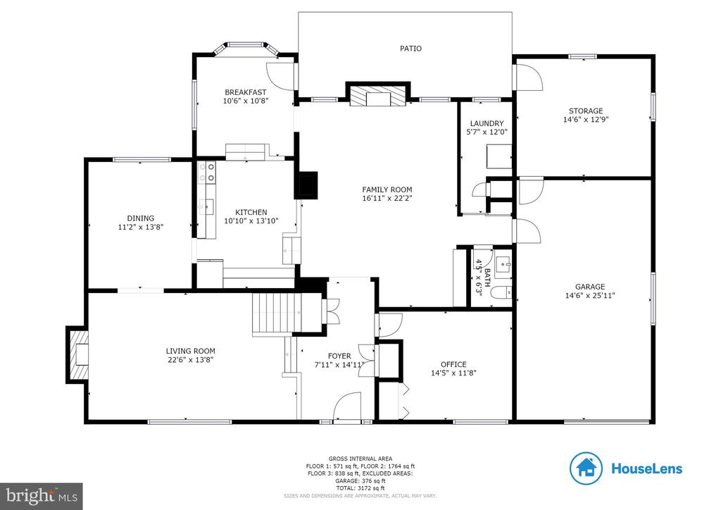 Main and upper 1 level floor plan and dimensions - 9114 MURDOCK RD, FAIRFAX