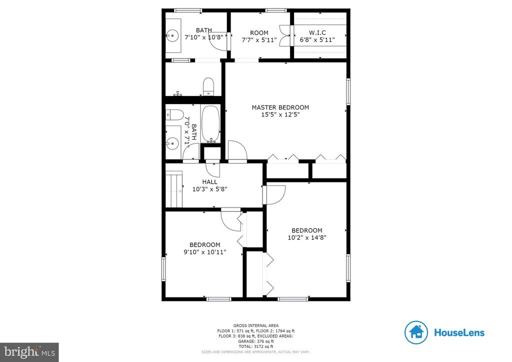 Upper most level floor plan - 9114 MURDOCK RD, FAIRFAX