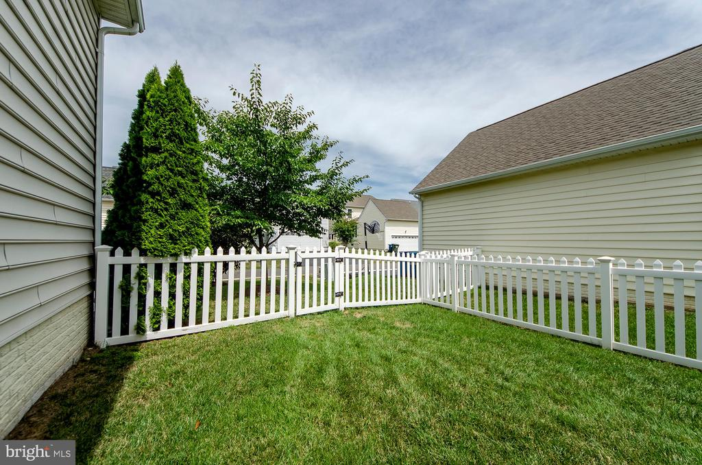 Fully fenced front & side yard - 25233 RIDING CENTER DR, CHANTILLY