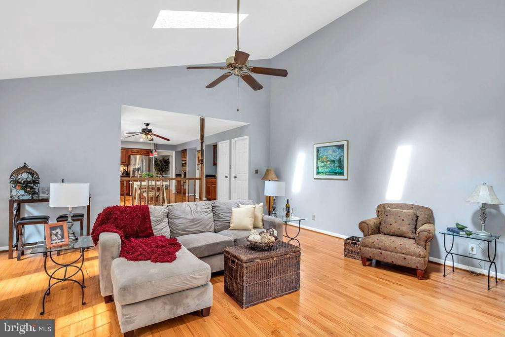 The room features a vaulted ceiling and skylights - 4705 LEEHIGH CT, FAIRFAX
