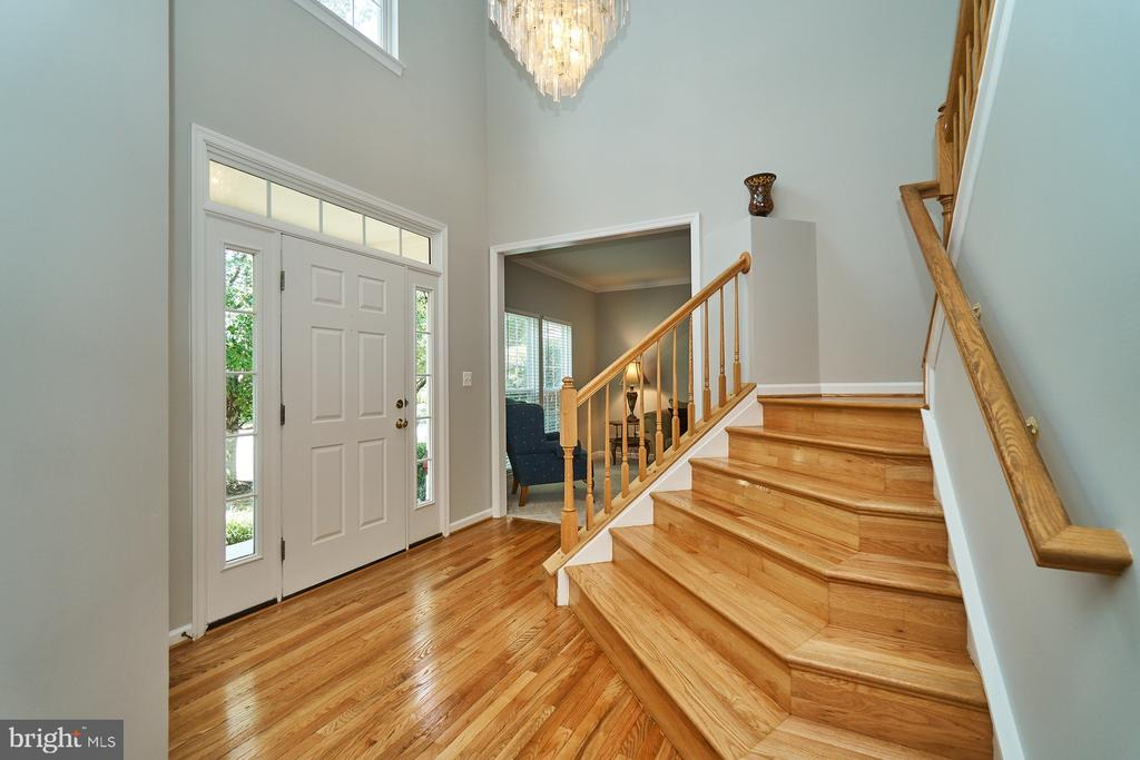 Two story foyer with beautiful hardwood flooring - 21284 HIDDEN POND PL, BROADLANDS