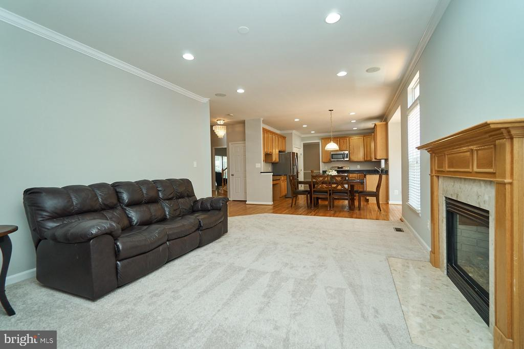 Family rm  adjoins kitchen and has a gas fireplace - 21284 HIDDEN POND PL, BROADLANDS