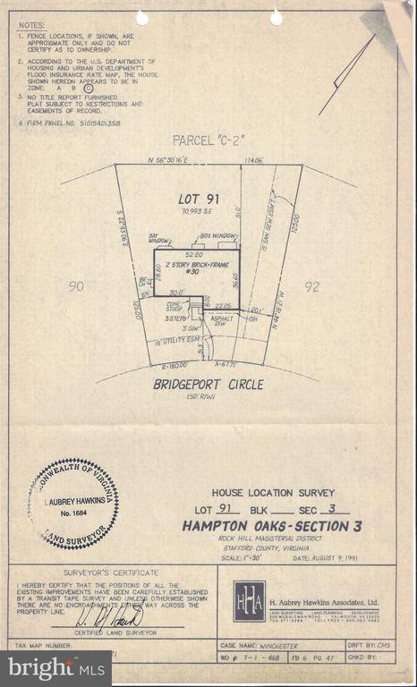 Original survey from 1991 - 30 BRIDGEPORT CIR, STAFFORD