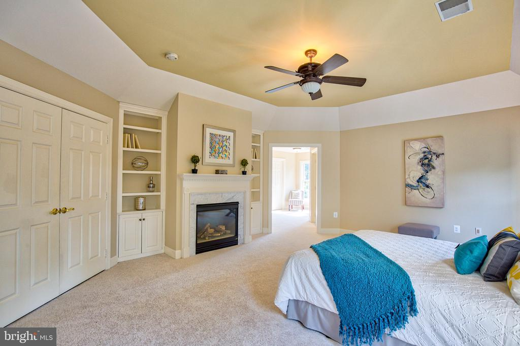 Master Suite w/ fireplace and custom bookcases - 43535 FIRESTONE PL, LEESBURG