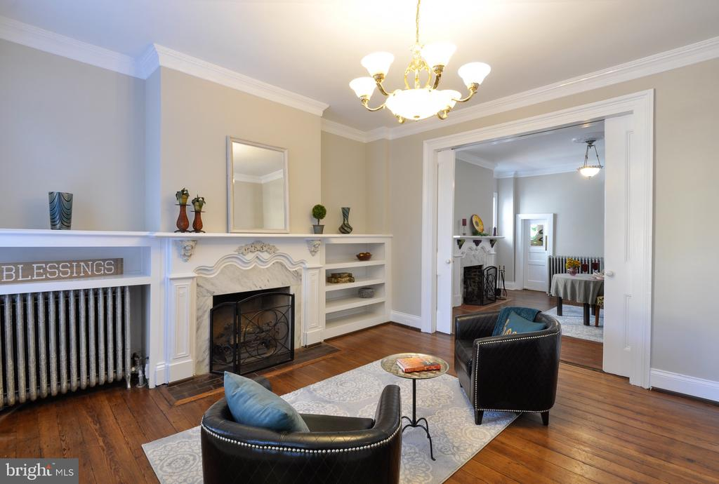 Living room with built ins & exquisite trim work - 611 CAROLINE ST, FREDERICKSBURG