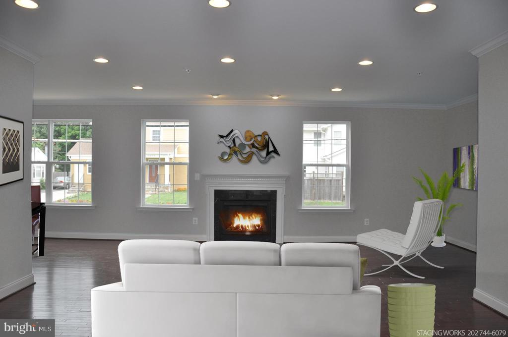 LIVING ROOM WITH GAS FIREPLACE - 15 BELMONT CT, SILVER SPRING