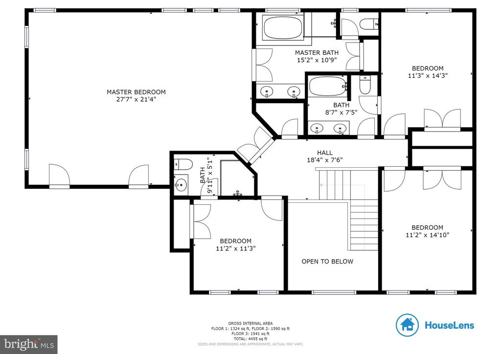 Upper level floorplan - 9620 CHATHAMS FORD DR, VIENNA