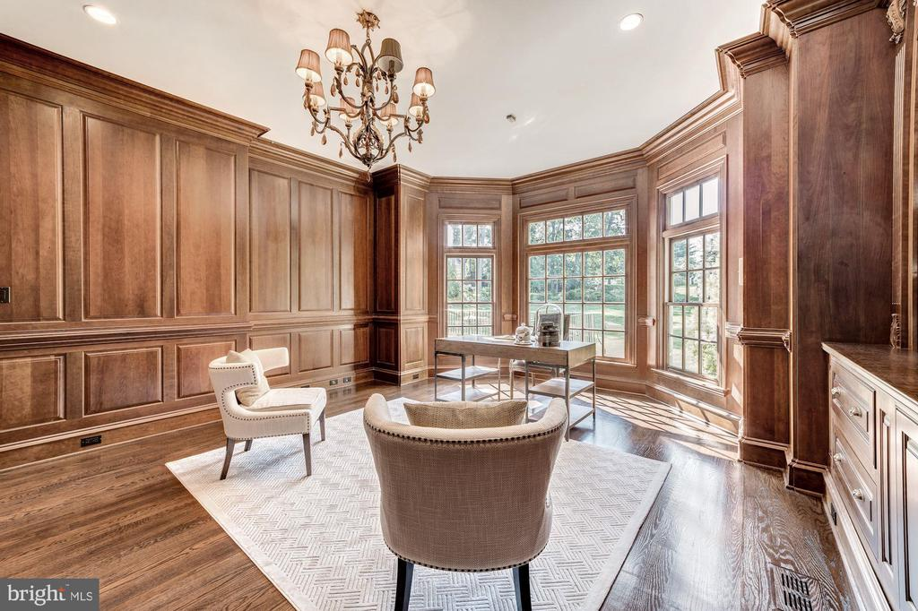 Study with cherry paneling - views of back lawn - 1353 WOODSIDE DR, MCLEAN