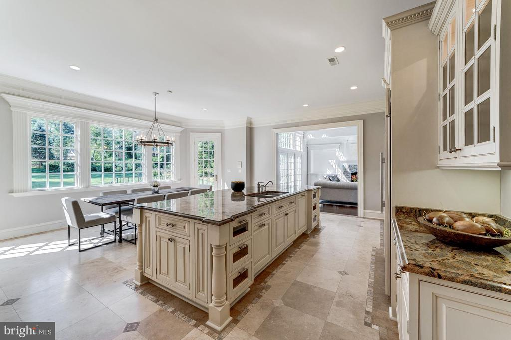 Kitchen with Travertine flooring - 1353 WOODSIDE DR, MCLEAN