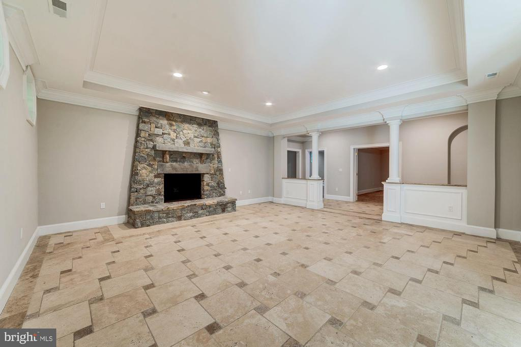 Family room/recreation room with fireplace - 1353 WOODSIDE DR, MCLEAN