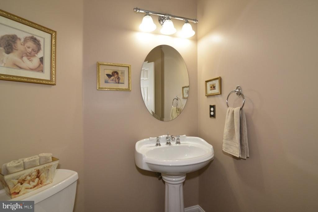 Beautiful powder room with pedestal sink - 1308 FEATHERSTONE LN NE, LEESBURG