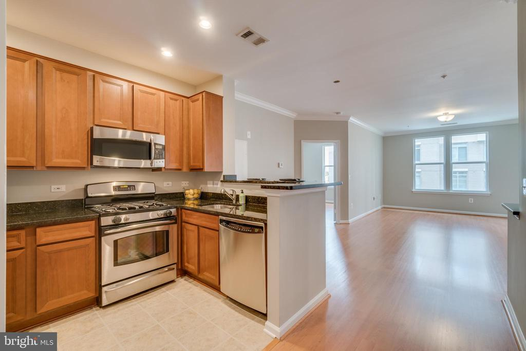Kitchen opens the family room - 12000 MARKET ST #254, RESTON