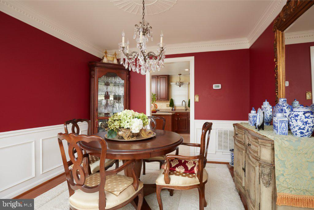 Dining Room with wainscotting - 2028 GALLOWS TREE CT, VIENNA