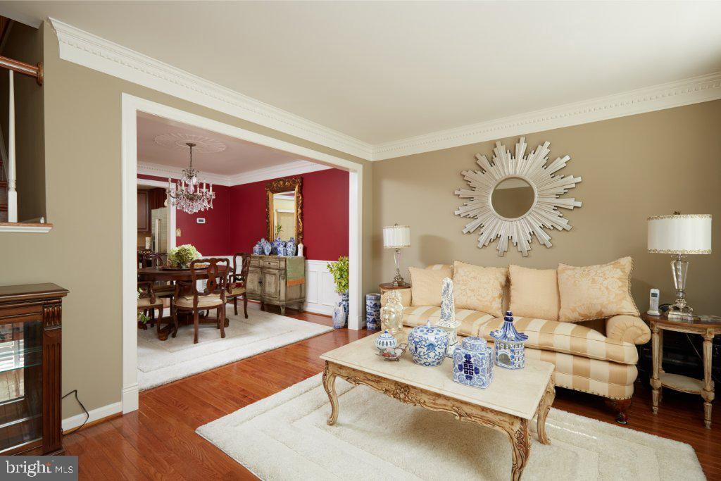 Living Room to Dining Room with framed arch - 2028 GALLOWS TREE CT, VIENNA