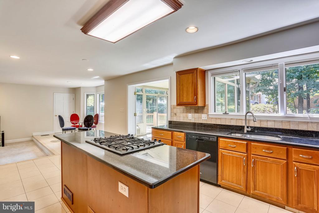 Kitchen with sunlit breakfast room - 7404 BRADLEY BLVD, BETHESDA