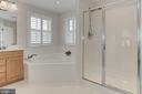 Luxury Owners Bath w Crisp Tile + Soaking Tub - 23008 WHITE IBIS DR, BRAMBLETON