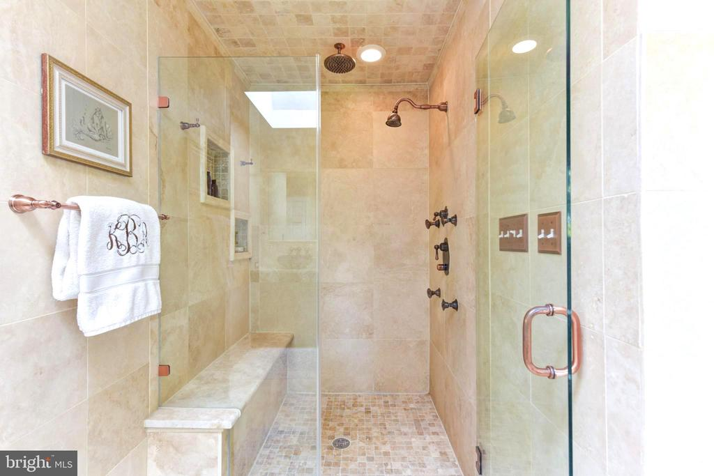 Rain Shower & Bench in Marble Master Bathroom. - 1904 BELLE HAVEN RD, ALEXANDRIA