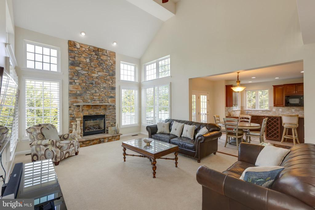 2 Story family room with stone fireplace - 42022 GLASS MOUNTAIN PL, ALDIE