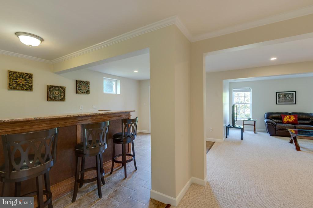 Bar in basement with granite counter top - 42022 GLASS MOUNTAIN PL, ALDIE