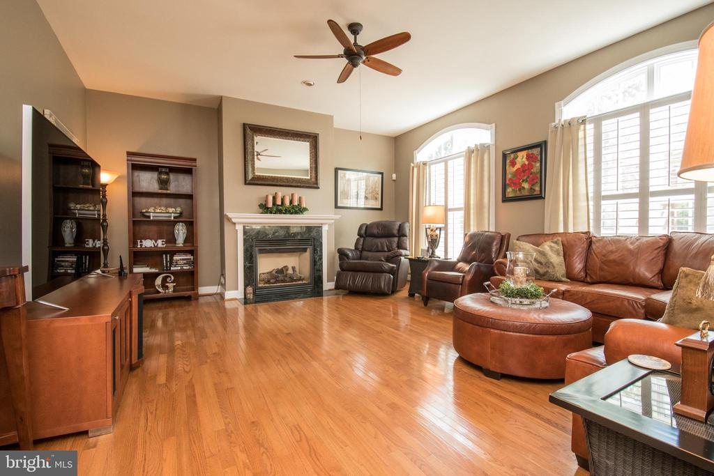 Family room with a gas fireplace. - 23084 RED ADMIRAL PL, BRAMBLETON