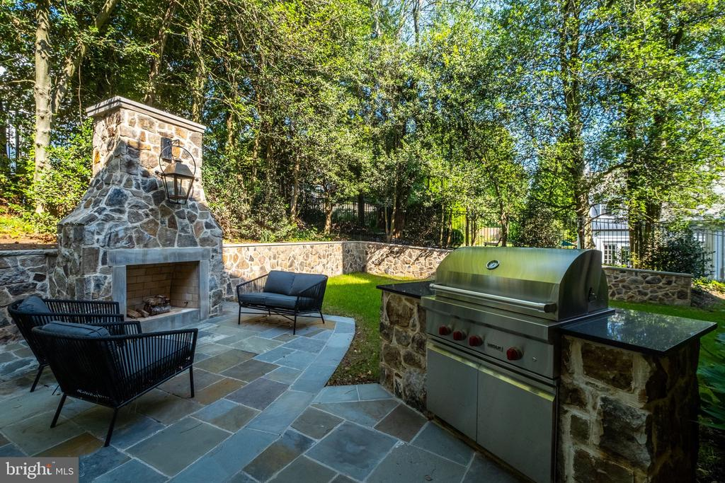 Stone Fireplace and Built-in Wolf Grill - 3200 N ABINGDON ST, ARLINGTON