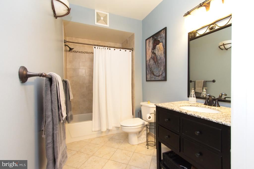 The master bathroom with a granite topped vanity - 1855 STRATFORD PARK PL #309, RESTON