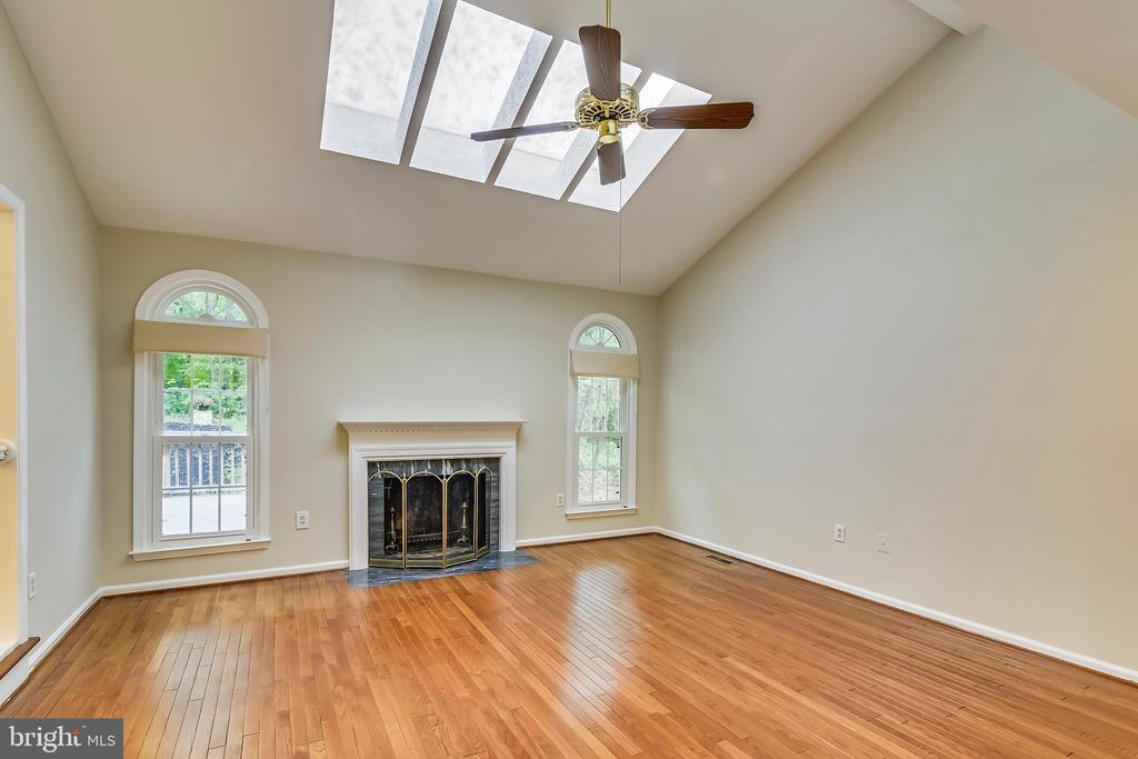 Great room with fireplace and skylights - 12001 SUGARLAND VALLEY DR, HERNDON