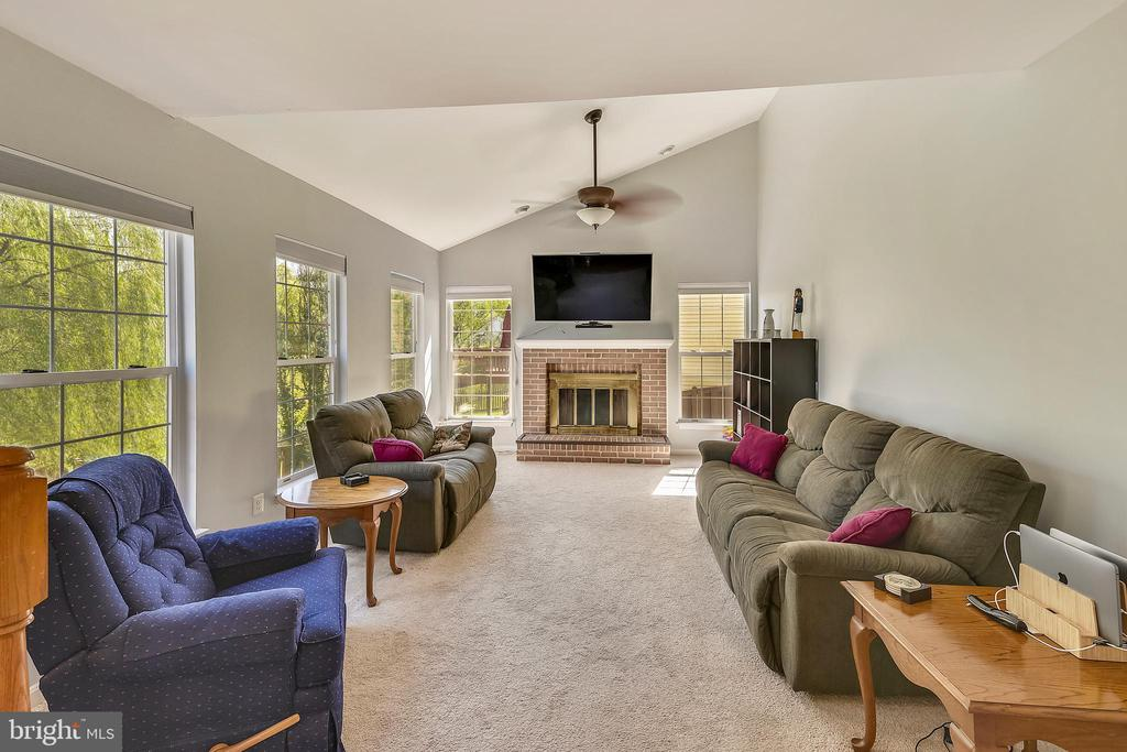 Family room with vaulted ceilings and fireplace - 208 GRAFTON WAY NE, LEESBURG