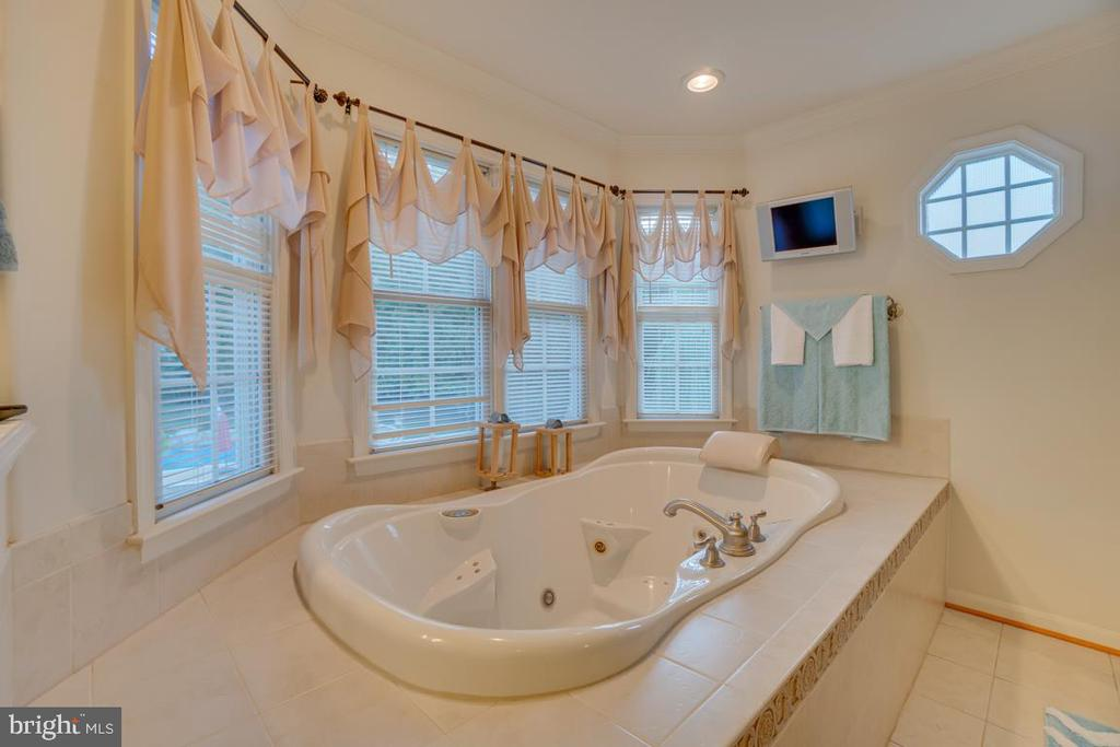 Master bathroom with jetted Soaker, mounted TV - 132 CHRISWOOD LN, STAFFORD