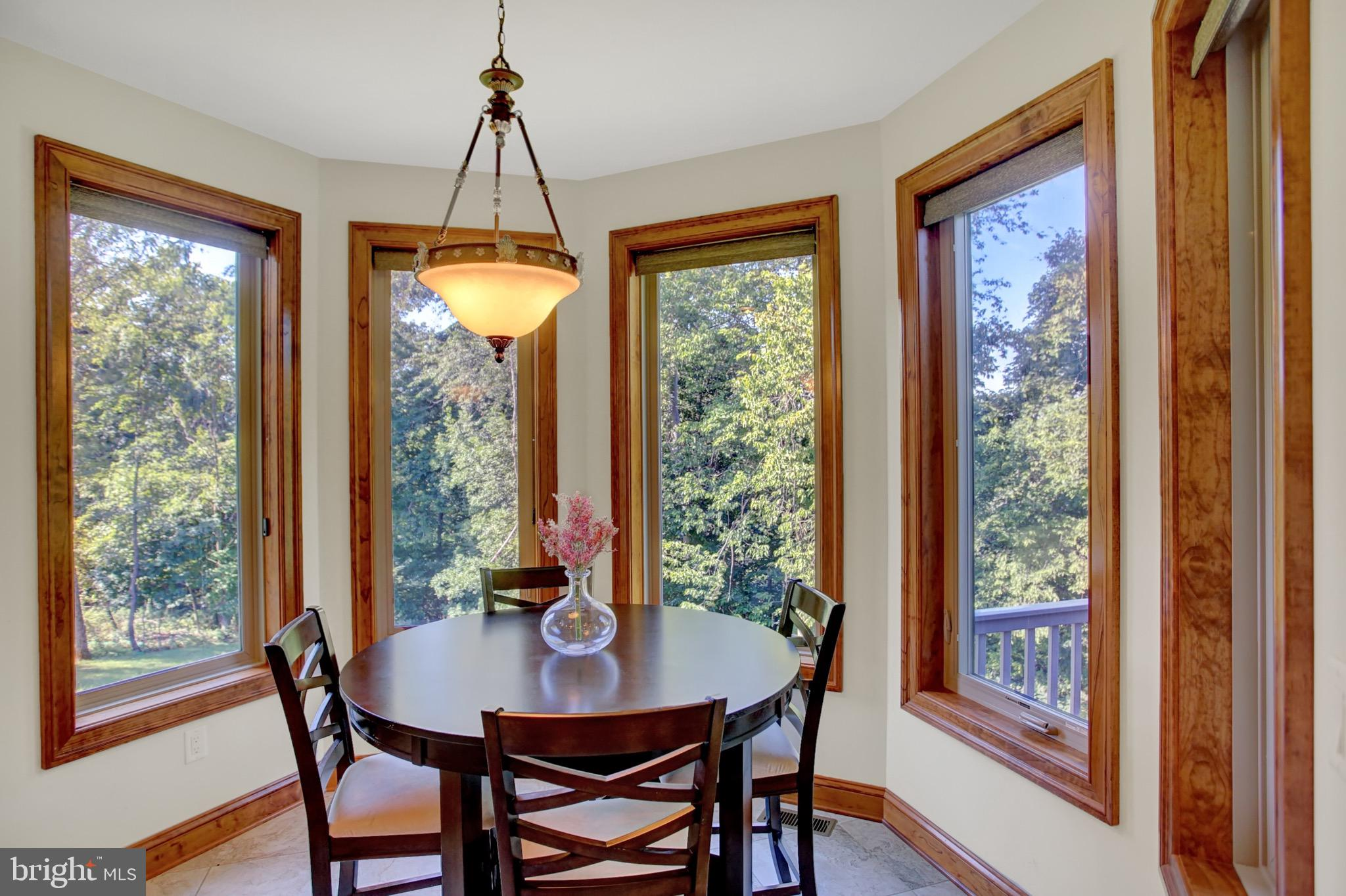 Bright breakfast nook with large windows